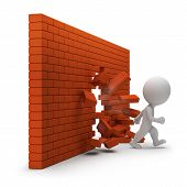 foto of strongman  - 3d small person passing through a brick wall - JPG