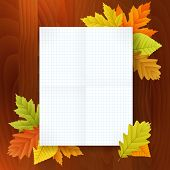 Autumn Blank Notepad On Wood Background