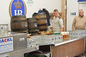 Serving Beer At The Hofbrau Octoberfest Tent