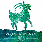 Watercolor pattern goat. Chinese astrological sign. New Year 2015.