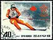 Vintage  Postage Stamp. Olympic Games In Calgary. 9.