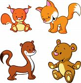 Fox, Bear, Weasel And Squirrel  - Cute Animals Cartoon Isolated On White Background