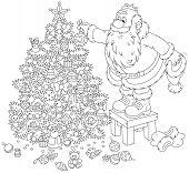 Santa Claus decorating a Christmas tree