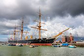 Portsmouth, Uk -august 14:  Hms Warrior, The First Iron-clad Battleship Launched By The British Roya