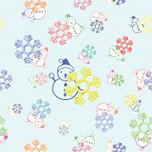 seamless background of colorful snowflake and snowman