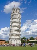 Tourists Visiting The Leaning Tower in Pisa, Italy