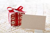 Present Boxes And Heart Shaped Tags With Blank Message Card