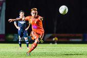 Sisaket Thailand-september 21: Ekkapan Jandakorn Of Sisaket Fc. Shooting Ball During Friendly Match
