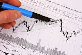 Hand With A Pen Pointing At Financial Chart
