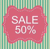 Vintage Label 50% Sale Off On Pastel Stripe. Vector