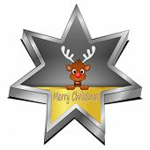 Reindeer wishing Merry Christmas star Button