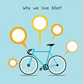 Why We Love Bike. Bicycle With Quote Text