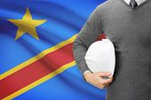 Architect With Flag On Background  - Democratic Republic Of The Congo