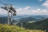 Ski resort at summertime. Ski lift waiting for winter