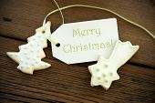 Christmas Greetings On A Label With Christmas Cookies
