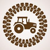 Vector Design Of Tractor Tire Print With Symbol Of Tractor