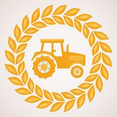 Vector Design Of Wheat Border With Symbol Of Tractor