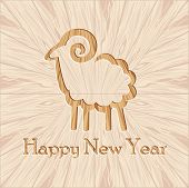 Wooden Ram New Year Figure Carved Wood Background