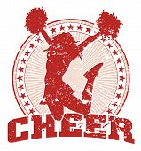 foto of cheerleader  - Illustration of a cheer design in a vintage style with a jumping cheerleader silhouette - JPG