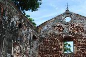 stock photo of malacca  - Ancient Building Wall at Malacca - JPG