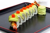 Beautifully Decorated Sushi Roll On White Background