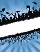stock photo of graduation  - Grunge background vector illustration of a group of graduates tossing their caps in celebration of graduation - JPG