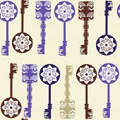 Old Keys Seamless Pattern And Seamless Pattern In Swatch Menu, Vector Image For Design Fabric Surfac
