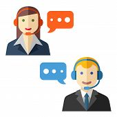 Male and female call center avatars