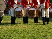 stock photo of revolutionary war  - Drum corps in American Revolutionary War uniforms