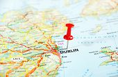 picture of ireland  - Dublin Ireland United Kingdom map and pin - Travel concept