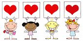 Cute Stick Cupids Holding Red Heart Signs