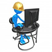 Construction Worker At Computer