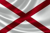 foto of alabama  - 3D rendering of the flag of Alabama on satin texture - JPG