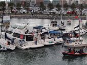 Row Of Boats Tied Together In Mccovey Cove