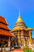 Golden Pagoda In Ancient Buddhist Temple