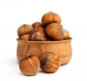 Hazelnuts Close -up In A Wooden Bowl