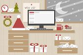 christmas background - santa claus home desk