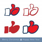 set of red mitten thumb up icons, vector illustration