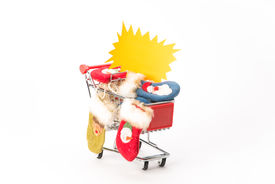pic of caddy  - Caddy for shopping with christmas socks on white background - JPG