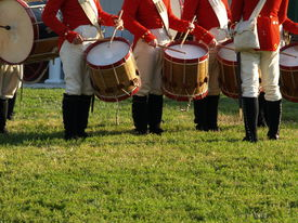 stock photo of corps  - Drum corps in American Revolutionary War uniforms  - JPG