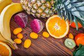 Fresh Fruit And Vegitables On Wooden Table