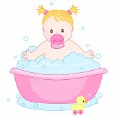 foto of bubble-bath  - An illustration of a cute little baby girl having bath isolated on white background - JPG