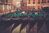 Picture of a many gondolas