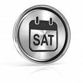 stock photo of weekdays  - Saturday metallic icon - JPG