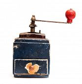 pic of wooden box from coffee mill  - vintage kitchen mill isolated on a white background - JPG