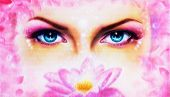 image of rosa  - A pair of beautiful blue women eyes beaming up enchanting from behind a bloming rosa lotus flower - JPG