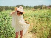 Happy Beautiful Woman Walking In Summer Park