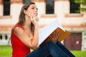 Woman studying while sitting outdoors