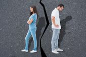 pic of not talking  - Upset couple not talking to each other after fight against road - JPG