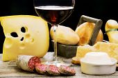 image of salami  - selection of cheese and salami with red wine - JPG